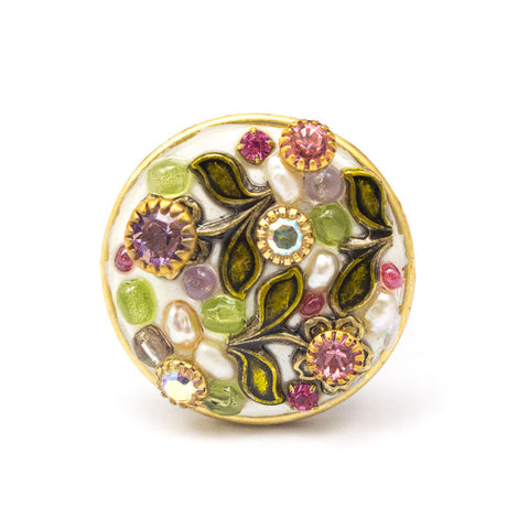 White Flower Large Round Ring by Michal Golan