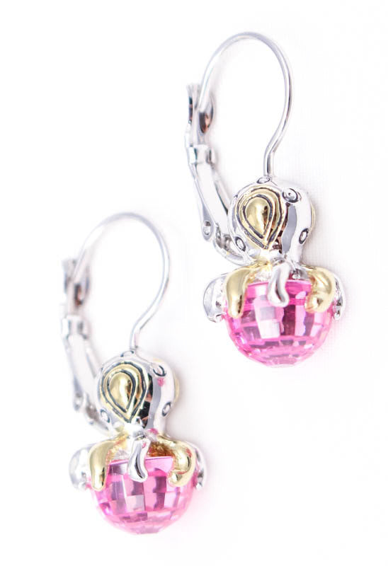 Ocean Images Pink Viva Octopus French Wire Earrings by John Medeiros