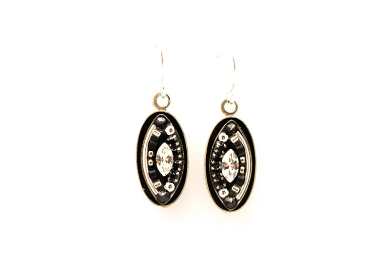 Black and White Viva Oval Drop Earrings by Firefly Jewelry