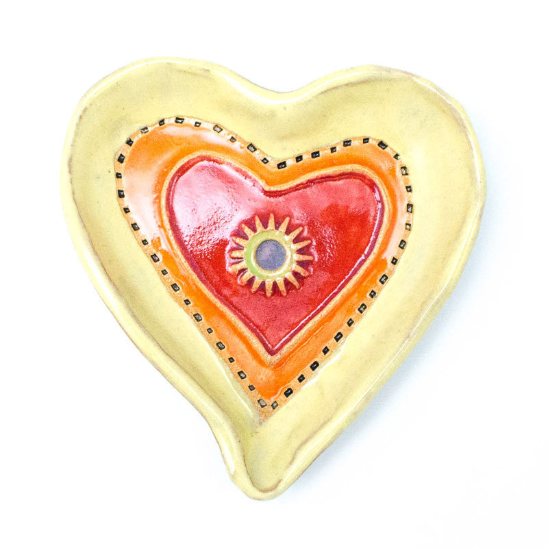 Heart Dish in Yellow Ceramic Wall Art