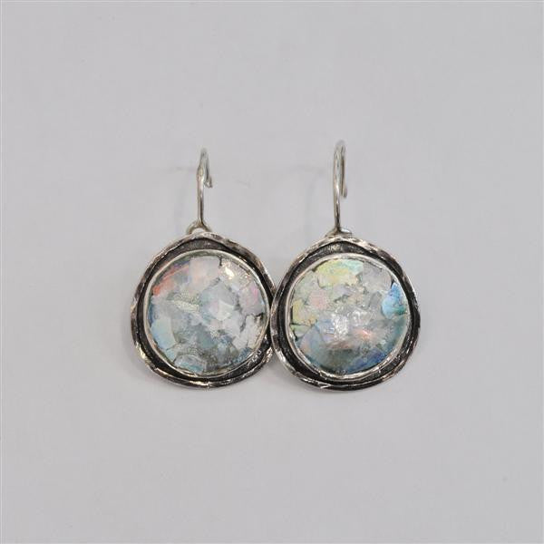 Channel Framed Round Patina Roman Glass Earrings