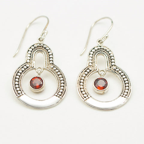 Sterling Silver Dangle with Granulation And Center Round Faceted Garnet Earrings