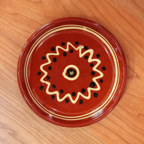 Redware Coaster with Black Polka Dots