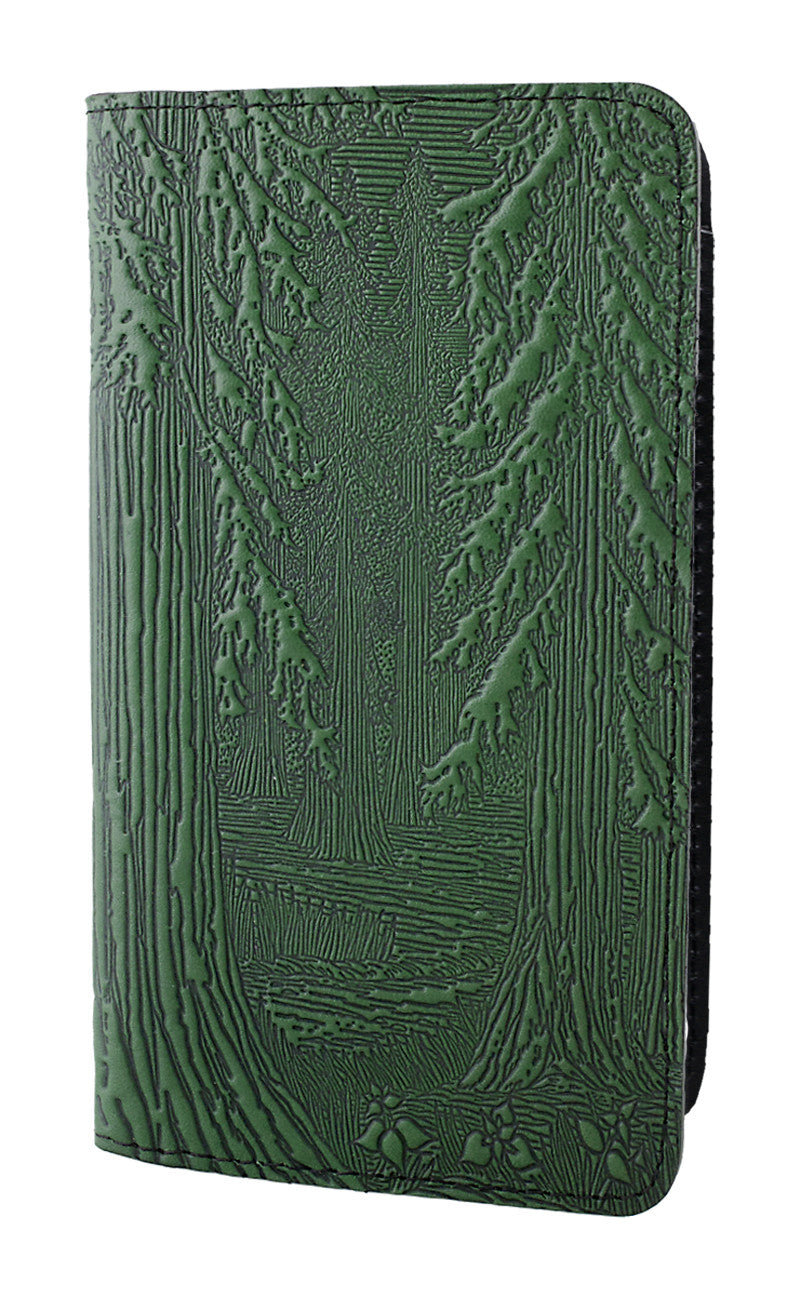 Leather Checkbook Cover - Forest in Green