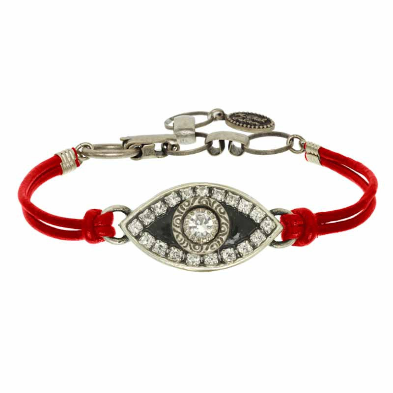 Enamel Eye Red Leather Bracelet by Michal Golan