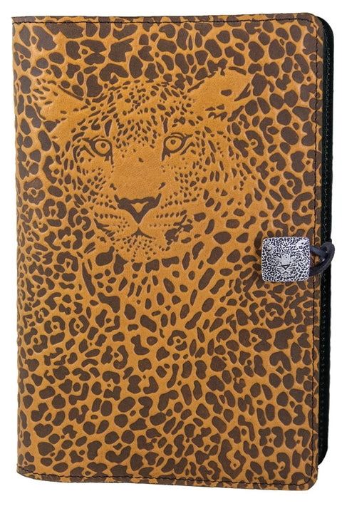 Large Leather Journal - Leopard in Marigold