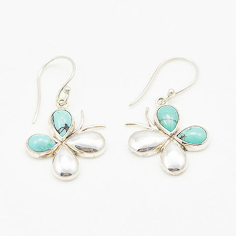 Sterling Silver Butterfly with Turquoise Earrings