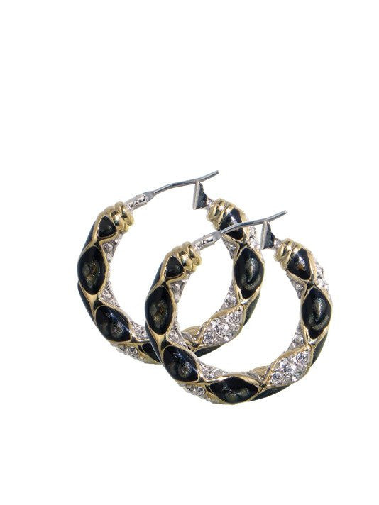 Lattice Collection, Black Abalone Edition, Pave Small Hoop Earrings by John Medeiros