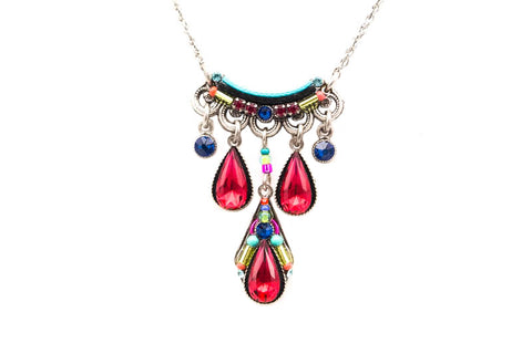 Multi Color Scarlet Camelia Three Drop Necklace by Firefly Jewelry