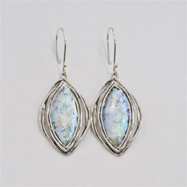 Ringed Marquise Patina Roman Glass Earrings