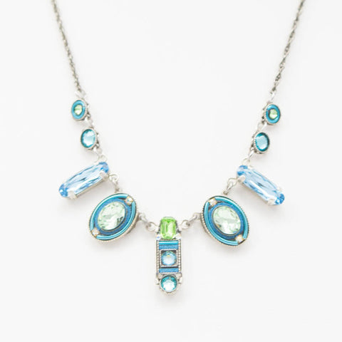 Light Blue La Dolce Vita Oval Necklace by Firefly Jewelry