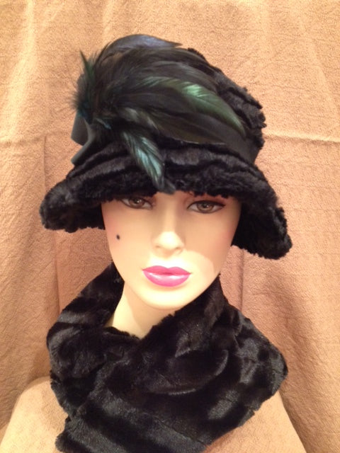 Desert Sand in Midnight Luxury Faux Fur Grace Hat with Black Band and Blue and Black Feathers: Size Medium