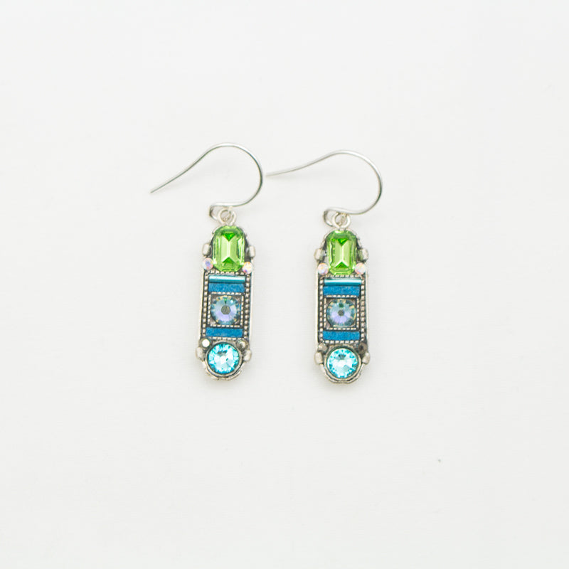 Light Blue La Dolce Vita Oval Mosaic Earrings with Hope and Dream by Firefly Jewelry