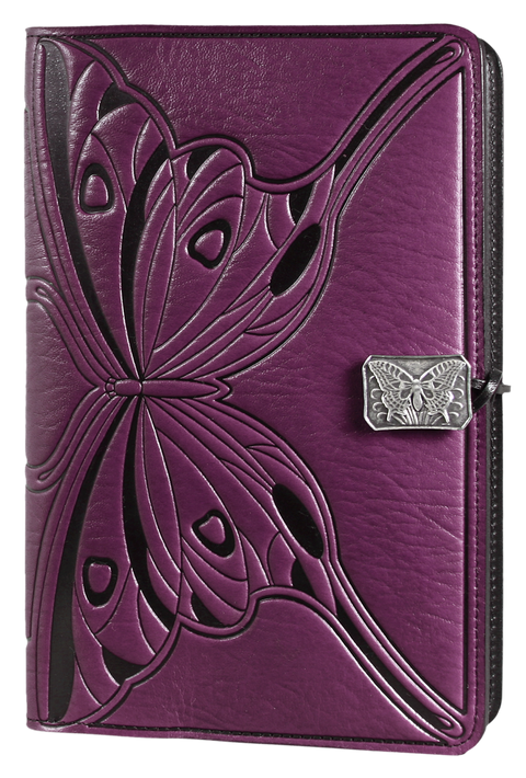 Small Leather Journal -  Butterfly in Orchid