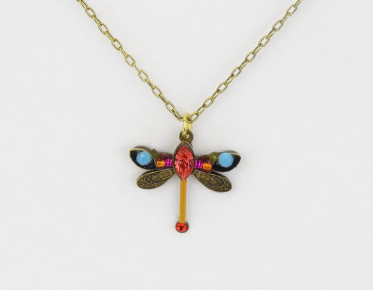 Tangerine Petite Dragonfly Pendant Necklace by Firefly Jewelry