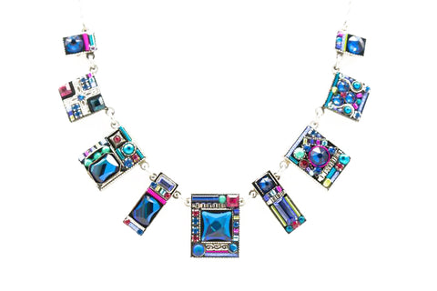 Bermuda Blue Geometric Large Necklace by Firefly Jewelry