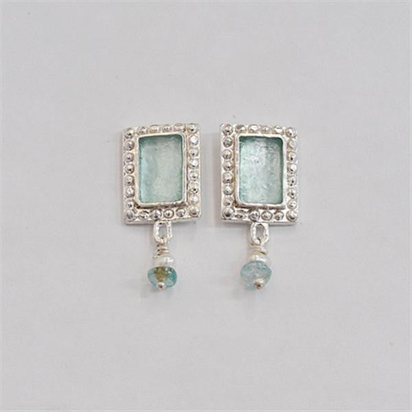 Studded Edge Rectangle Washed Roman Glass Post Earrings with Apatite and Freshwater Pearls