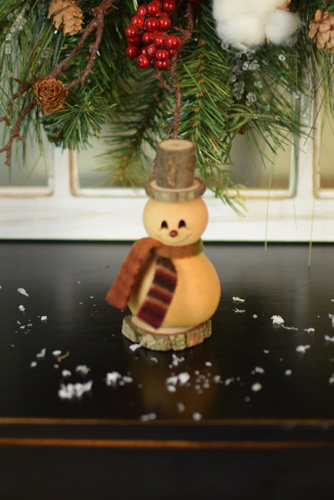Tiny Winter Friends Gourd Natural Snowman