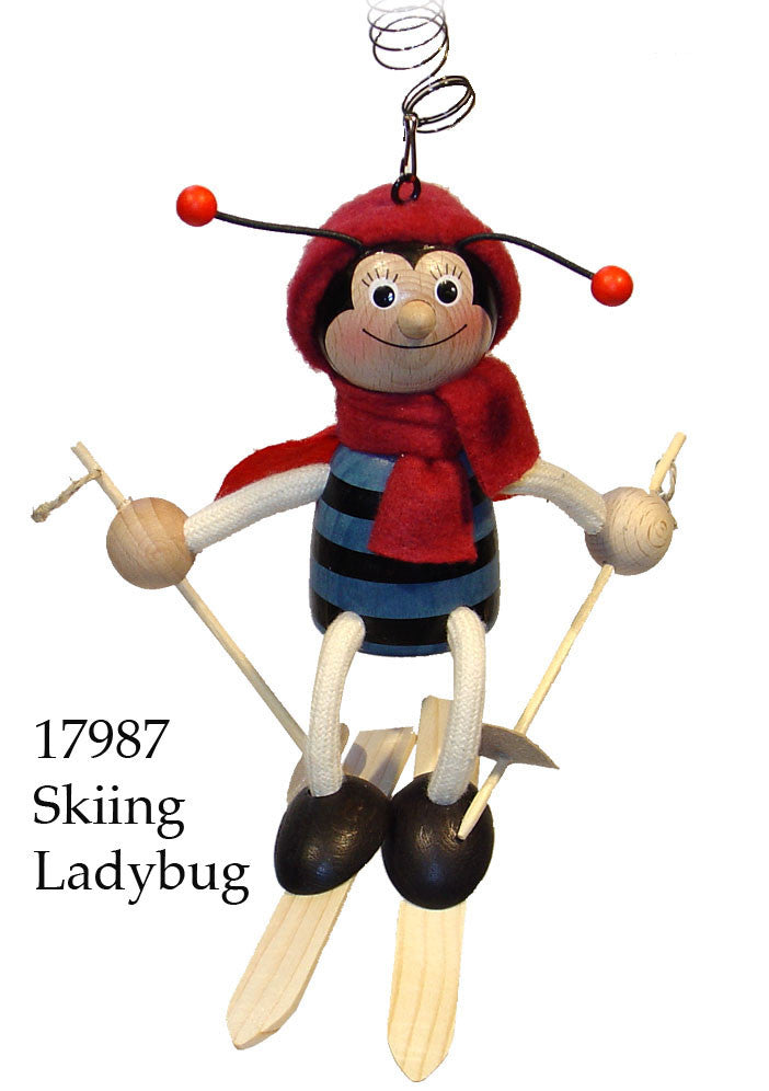 Skiing Ladybug Handcrafted Wooden Jumpie