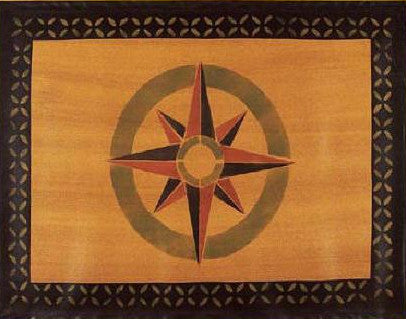 "Mariner's Compass Floorcloth with Border in Antique - Size 24"" x 36"""