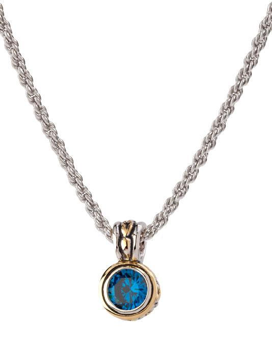 Beijos 7mm Cubic Zirconia Bezel Set Pendant Necklace by John Medeiros