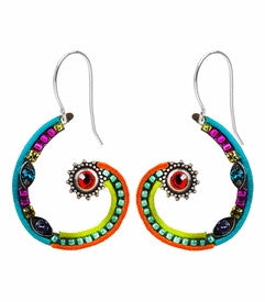 Multi Color Spiral Sunburst Earrings by Firefly Jewelry