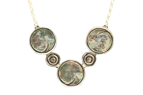Circle Swirl Roman Glass Necklace