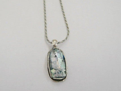 Oval Patina Roman Glass Necklace