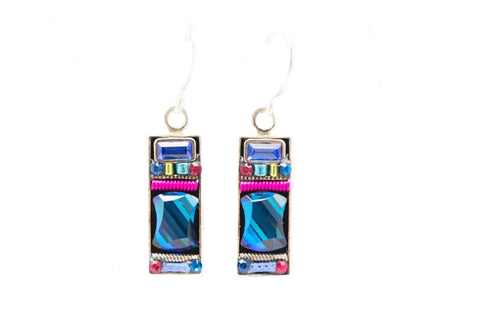 Bermuda Blue Geometric Rectangle Earrings by Firefly Jewelry