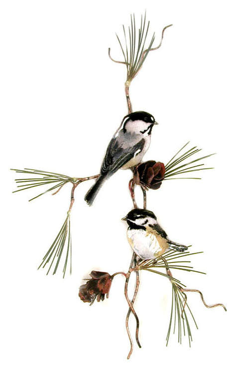 Chickadees with 3D Pine Cones Wall Art by Bovano Cheshire
