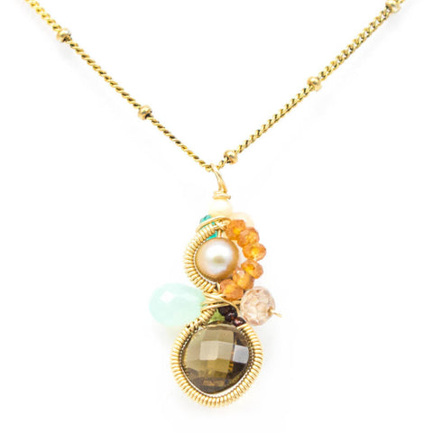 Baby Bella Whiskey Quartz Necklace by Anna Balkan