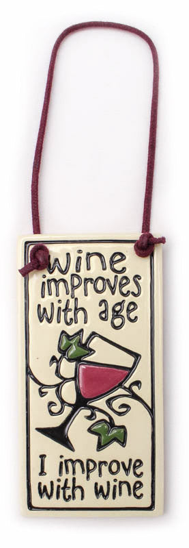 I Improve With Wine Wine Tag Ceramic Tile