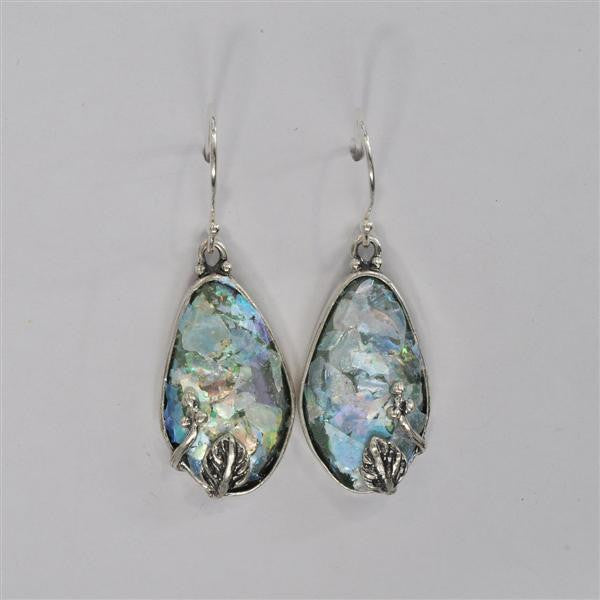 Vine Setting Oval Patina Roman Glass Earrings