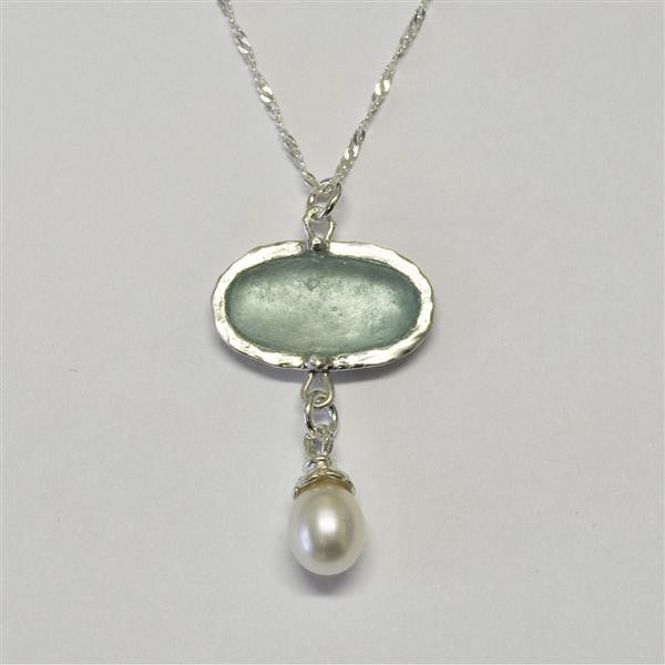 Wide Oval Roman Glass Necklace with Pearl