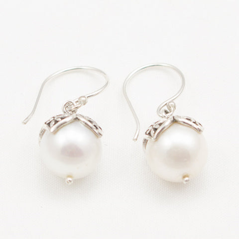 Sterling Silver Round Pearl with Silver Leaf Cap Dangle Earrings