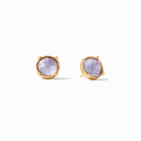 Honey Stud Earrings Gold Iridescent Lavender by Julie Vos