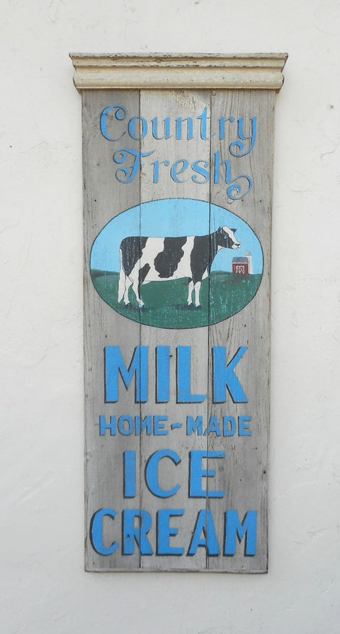 Country Fresh Milk Home-Made Icecream with Painted Cow and Barn Americana Art