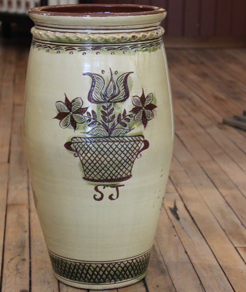 Redware Large Urn with Pot of Flowers and Two Birds