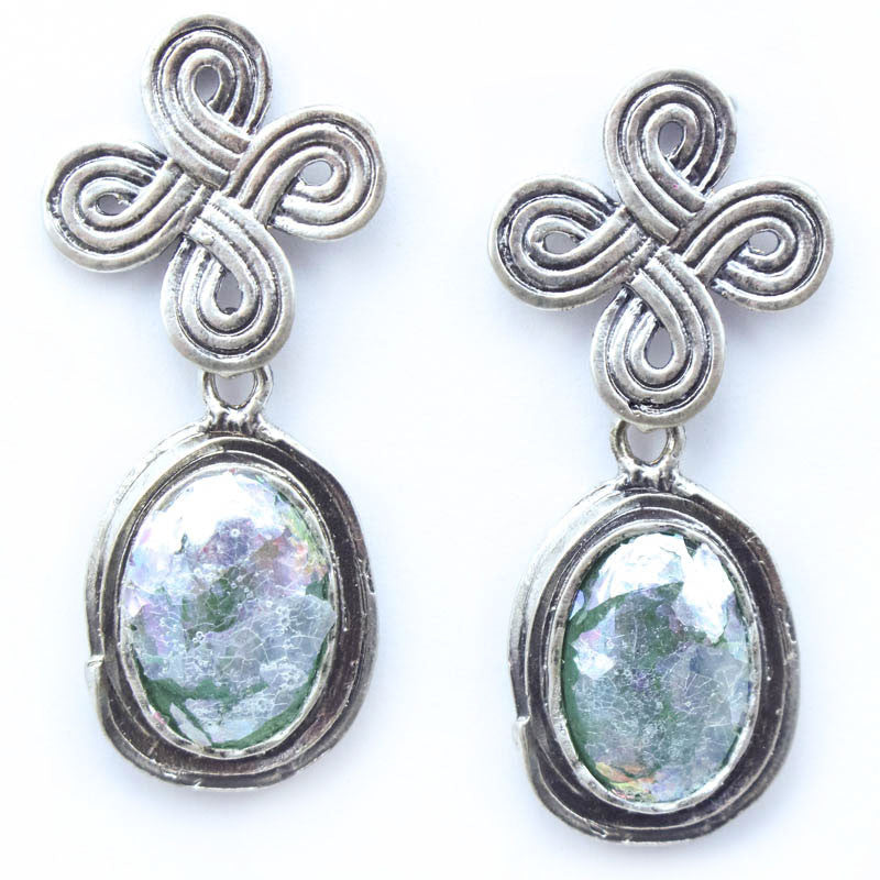 Celtic Knot Oval Patina Roman Glass Sterling Silver Post Earrings