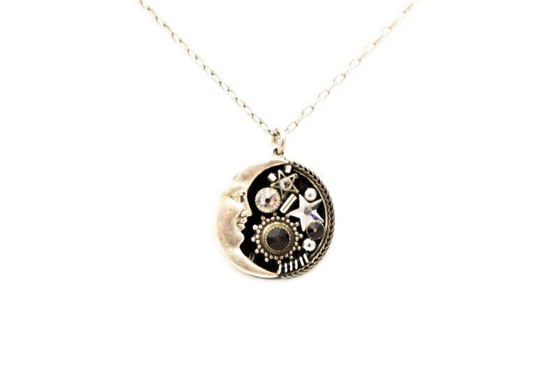Black and White Midnight Moon Pendant Necklace by Firefly Jewelry