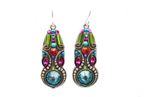 Multi Color Elaborate Mosaic Earring by Firefly Jewelry