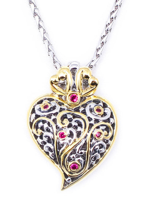 Viana Heart with Garnet 18 Inch Chain by John Medeiros