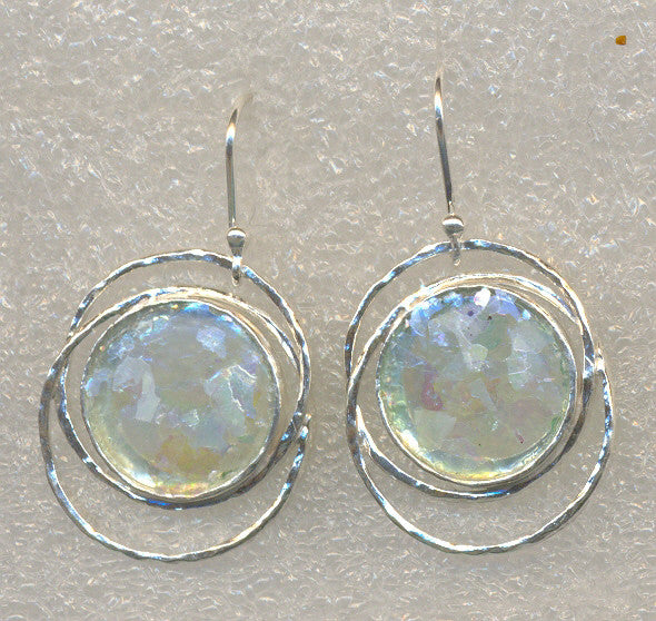 Delicate Ringed Round Washed Roman Glass Earrings