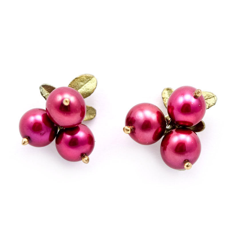Cranberry Three Leaf Post Earrings