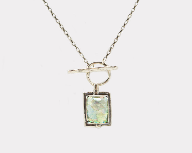 Square Drop Front Clasp Roman Glass Necklace