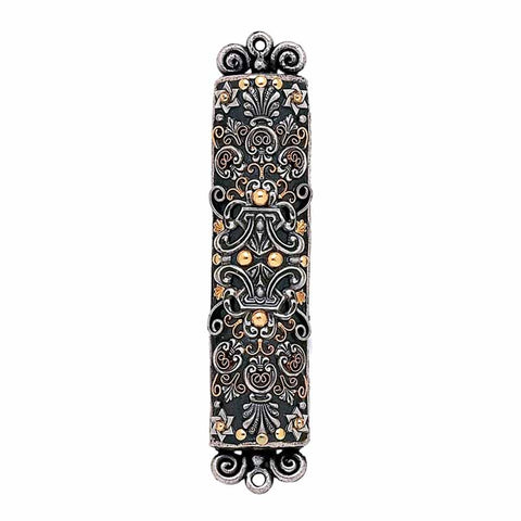 Silver, Gold, and Gray Large Mezuzah by Michal Golan