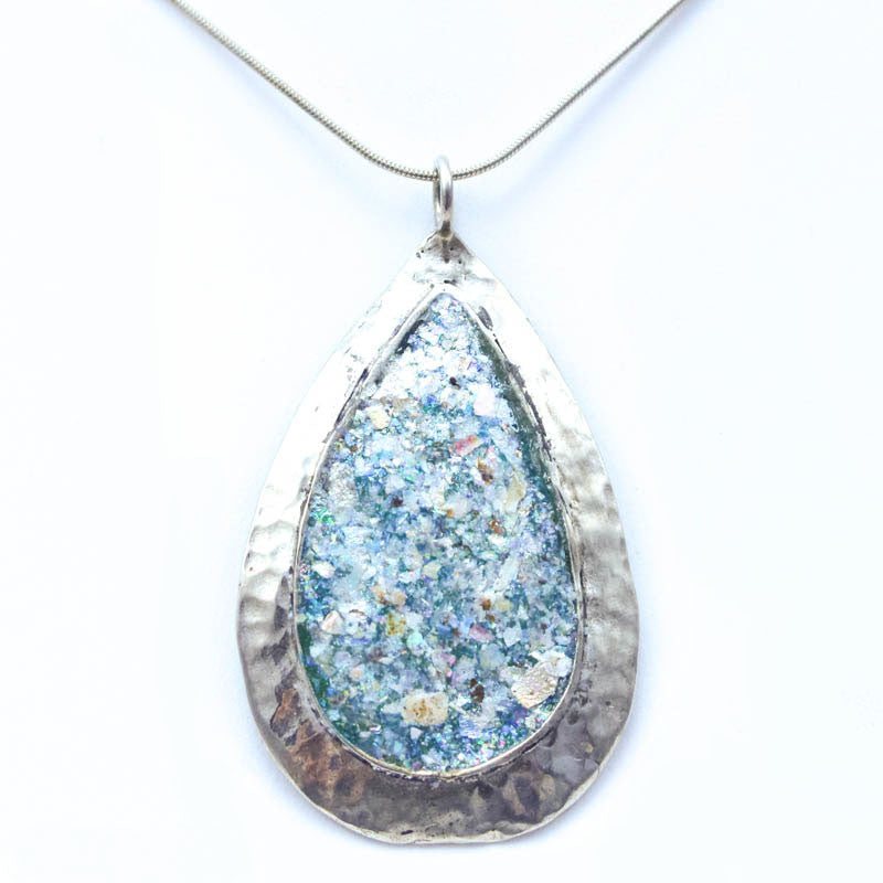 Hammered Sterling Silver Large Teardrop Roman Glass  Necklace