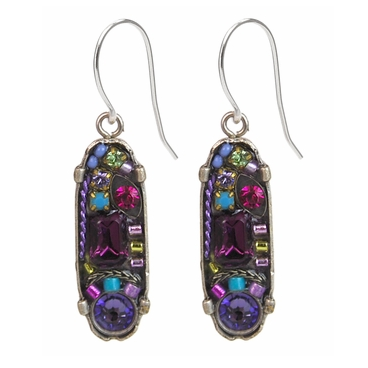 Amethyst La Dolce Vita Oval Mosaic Earrings by Firefly Jewelry
