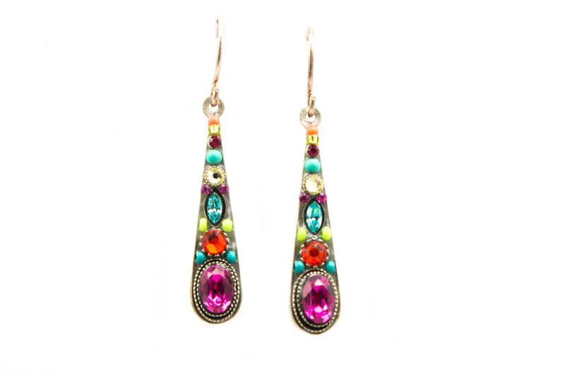 Multi Color Stilleto Medium Drop Earrings by Firefly Jewelry