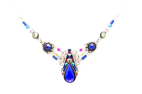 Royal Blue Camelia Simple Necklace by Firefly Jewelry